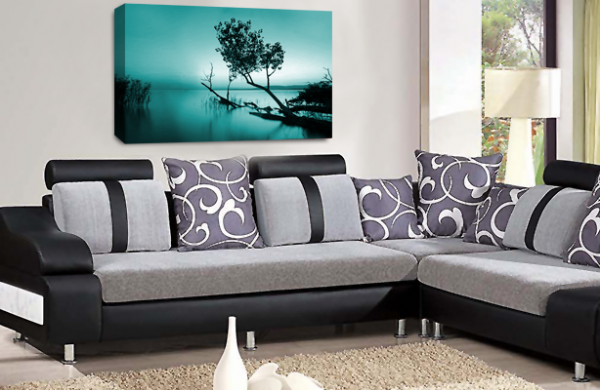 Landscape Wall Art Teal White Grey Seascape Picture Print